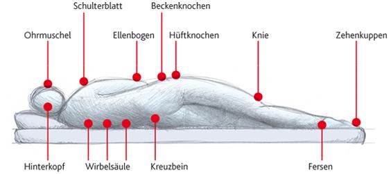 Wundliegen/Dekubitus Körperzonen